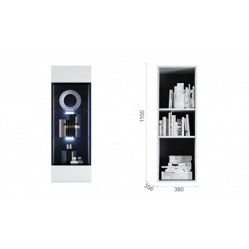 Пенал Йорк пенал-витрина навесная (02) Белый/белый глянец к Стенке ЙОРК