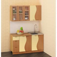Кухонный гарнитур «Волна» 1.5 м Бук/персик