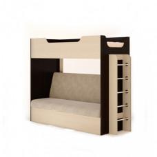 Кровать двухъярусная с диваном (без матраца), Венге/беленый дуб