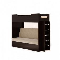 Кровать двухъярусная с диваном (без матраца), Венге