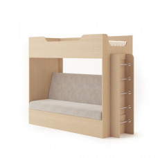 Кровать двухъярусная с диваном (без матраца), Беленый дуб