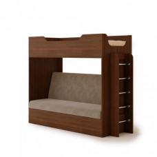 Кровать двухъярусная с диваном (без матраца), Орех