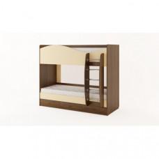 Кровать двухъярусная с ящиками (без матраца), Орех темный/Персик