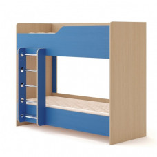 Кровать двухъярусная №2 (без матраца), Дуб беленый/Синий