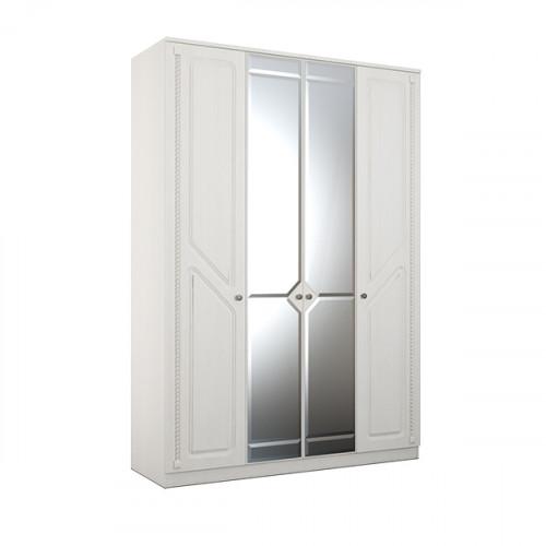 Азалия 24 Шкаф 4-х створчатый с зеркалом, ЛДСП Бодега белая