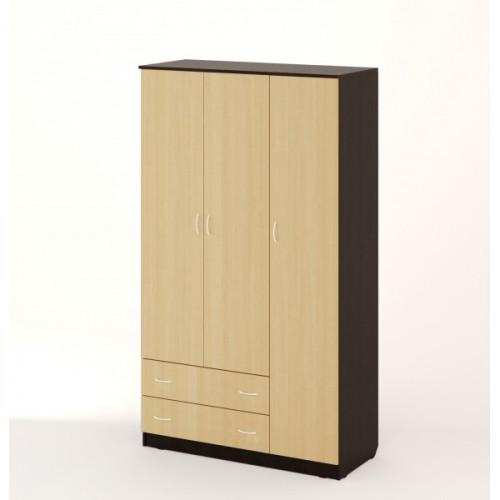 Шкаф распашной 3хстворчатый с 2 ящиками, Венге/беленый дуб