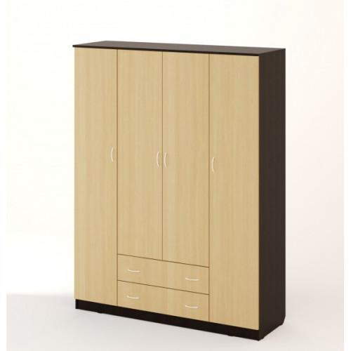 Шкаф распашной 4хстворчатый с 2 ящиками, Венге/беленый дуб