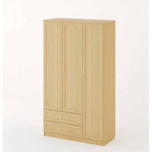 """Шкаф распашной 3хстворчатый с 2 ящиками """"Рамочный"""", Беленый дуб"""